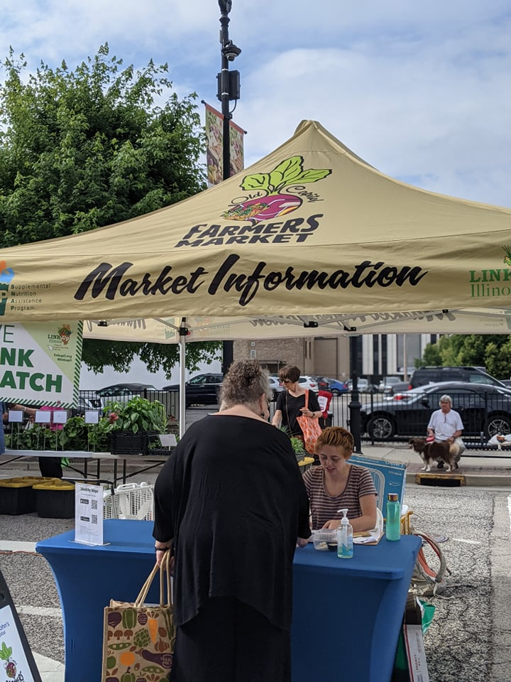 Information booth at farmer's market in Springfield IL